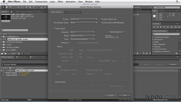 Putting together the final comp: CINEMA 4D: Rendering Motion Graphics for After Effects