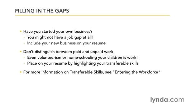 Filling in employment gaps: Creating an Effective Resume (2011)