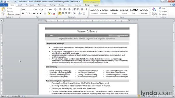 Combined chrono-functional: Creating an Effective Resume (2011)
