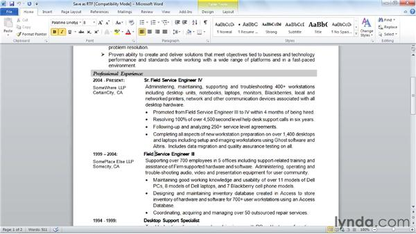 Creating a RTF version: Creating an Effective Resume (2011)