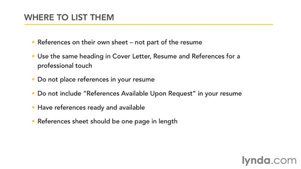 Compiling your references: Creating an Effective Resume (2011)