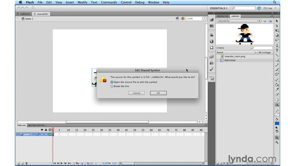 Working with Authortime shared assets: Flash Professional CS5.5 New Features