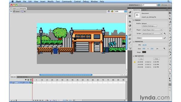 Using the Export As Bitmap command: Flash Professional CS5.5 New Features