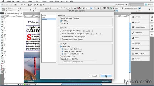 Adding multimedia content for iBook output: InDesign CS5.5 New Features