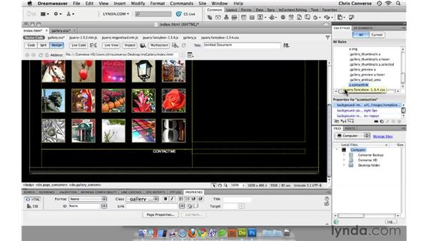 Adding icons and styles to the zoom and contact links: Create an Interactive Photo Gallery with jQuery and Dreamweaver