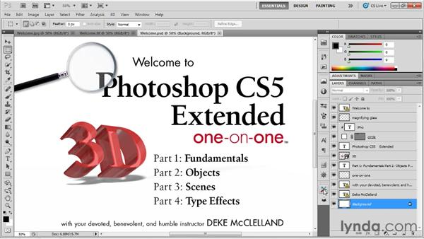 Constructing the ideal workspace: Photoshop CS5 Extended One-on-One: 3D Objects
