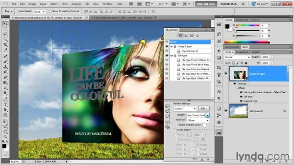 Matching a postcard to a background image: Photoshop CS5 Extended One-on-One: 3D Objects