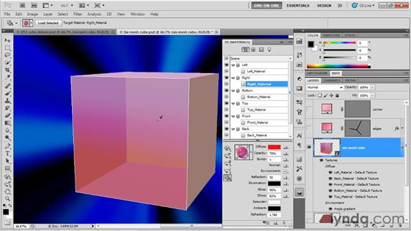 Duplicating materials, camera, and position: Photoshop CS5 Extended One-on-One: 3D Objects