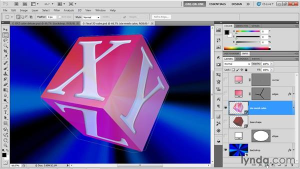 Faking a 3D bevel with 2D layers: Photoshop CS5 Extended One-on-One: 3D Objects