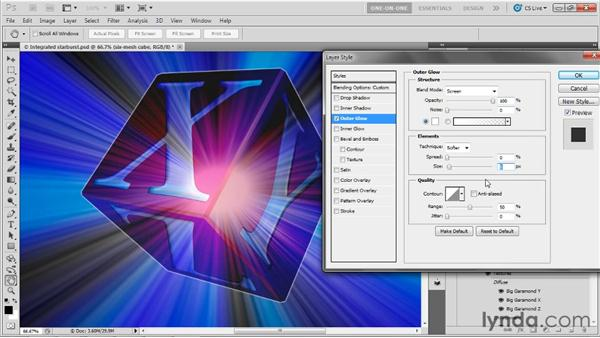 Blending a 3D cube with 2D effects: Photoshop CS5 Extended One-on-One: 3D Objects