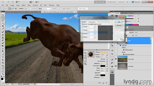 Scaling and repeating a texture: Photoshop CS5 Extended One-on-One: 3D Objects