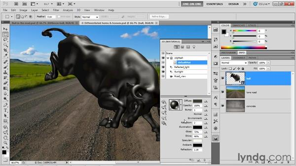 Reflecting a partial environment map: Photoshop CS5 Extended One-on-One: 3D Objects
