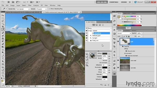 Filling in missing parts of an environment: Photoshop CS5 Extended One-on-One: 3D Objects