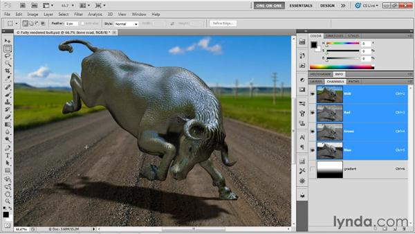Simulating depth of field with a 2D filter: Photoshop CS5 Extended One-on-One: 3D Objects
