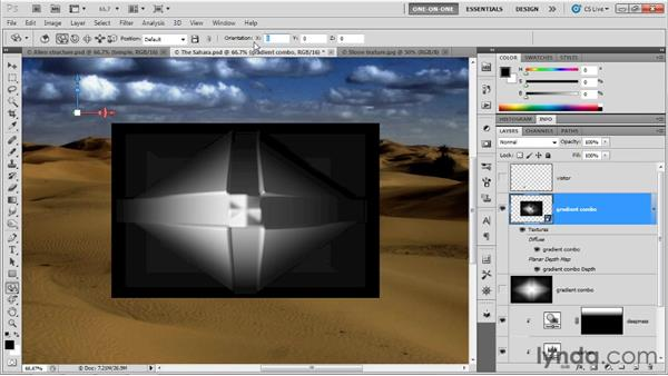 Creating a 3D object from a 16-bit gradient: Photoshop CS5 Extended One-on-One: 3D Objects