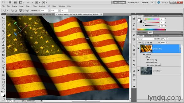 Coloring a scene with lights and texture: Photoshop CS5 Extended One-on-One: 3D Objects