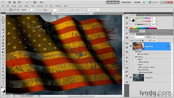 Singeing the holes with 2D effects: Photoshop CS5 Extended One-on-One: 3D Objects