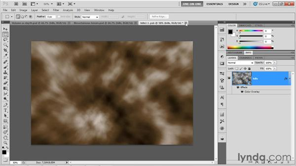Adding white peaks to hills: Photoshop CS5 Extended One-on-One: 3D Objects