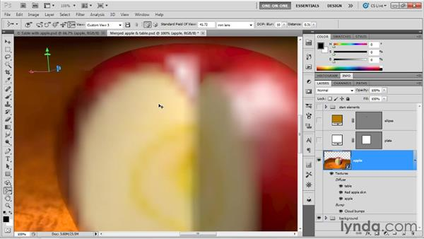 Assigning and adjusting depth of field: Photoshop CS5 Extended One-on-One: 3D Objects