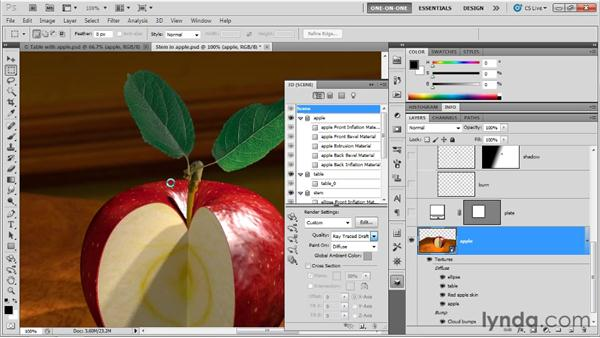 Blending a photographic foreground: Photoshop CS5 Extended One-on-One: 3D Objects