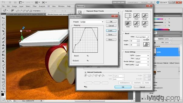 Creating a custom contoured bevel: Photoshop CS5 Extended One-on-One: 3D Objects