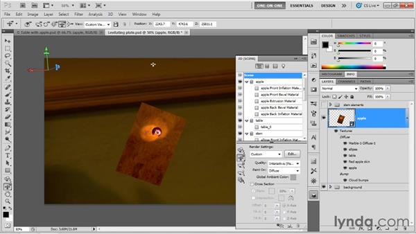 Moving one object between two others: Photoshop CS5 Extended One-on-One: 3D Objects