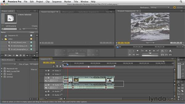 Unlinking audio and video in multiple clips: Premiere Pro CS5.5 New Features