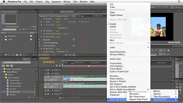 Working with keyframes directly in the Timeline: Premiere Pro CS5.5 New Features