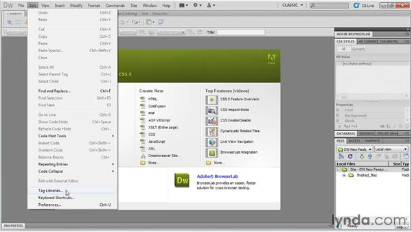 Creating new HTML5 documents: Dreamweaver CS5.5 New Features