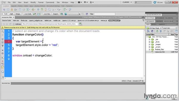 DOM element hinting: Dreamweaver CS5.5 New Features