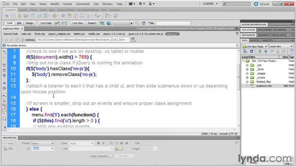 jQuery code hinting: Dreamweaver CS5.5 New Features