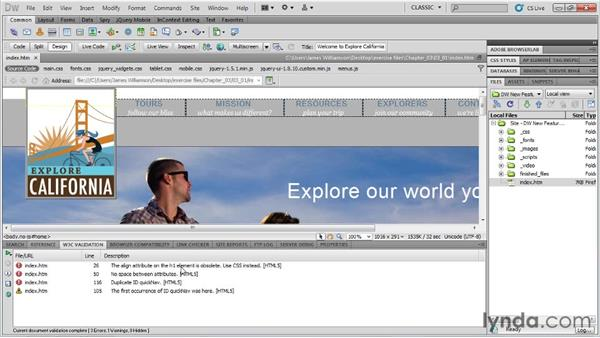 W3C validator: Dreamweaver CS5.5 New Features