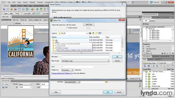 Managing media queries: Dreamweaver CS5.5 New Features