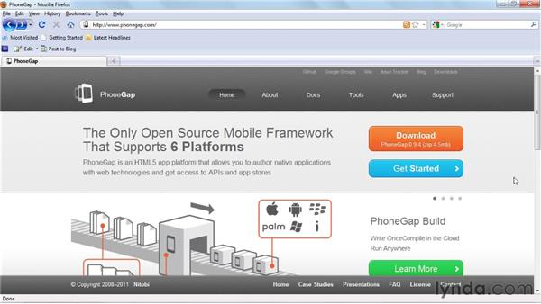 Configuring mobile application frameworks: Dreamweaver CS5.5 New Features