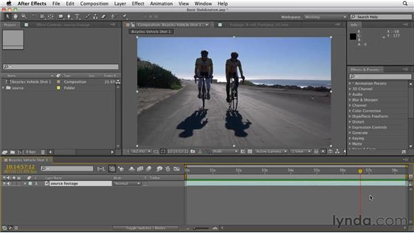 Performing a basic stabilization with Warp Stabilizer: After Effects CS5.5 New Features