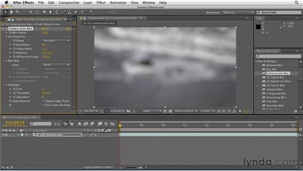 Creating lens blur using the Lens Blur effect: After Effects CS5.5 New Features