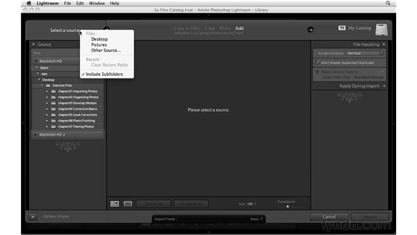 Importing the exercise files: Up and Running with Lightroom 3