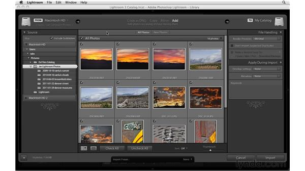 Importing from your hard drive: Up and Running with Lightroom 3