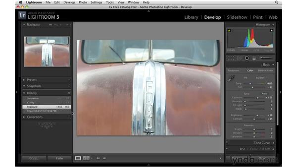 Undoing from the History panel: Up and Running with Lightroom 3