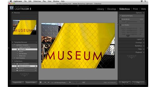 Creating a basic slideshow: Up and Running with Lightroom 3