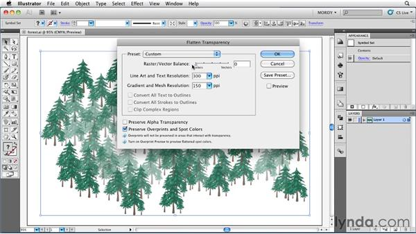 Exploring the Transparency Flattener options: Illustrator Insider Training: Seeing Through Transparency