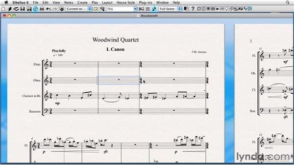 Clicking and dragging on the score page and using the Undo command: Sibelius 6 Essential Training