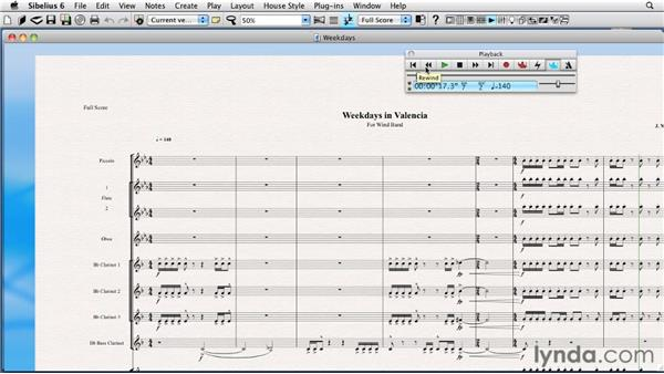 Basic score playback and stopping all actions: Sibelius 6 Essential Training