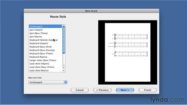 Creating a new score: Sibelius 6 Essential Training
