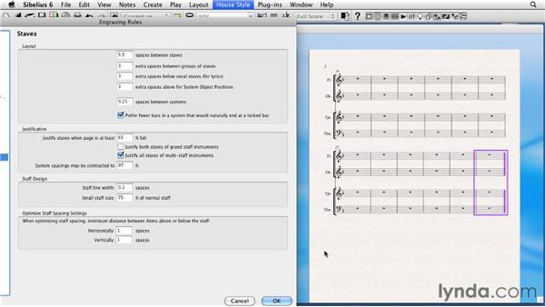 Initial score layout: Sibelius 6 Essential Training