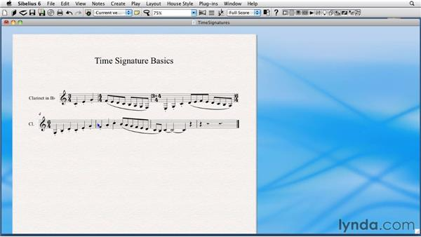 Time signatures: Sibelius 6 Essential Training