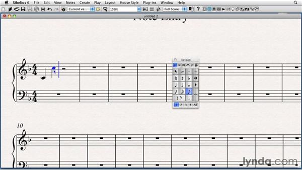 Entering notes and rests using the mouse: Sibelius 6 Essential Training