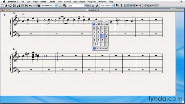 Inserting harmonic notes and chords with the keyboard: Sibelius 6 Essential Training