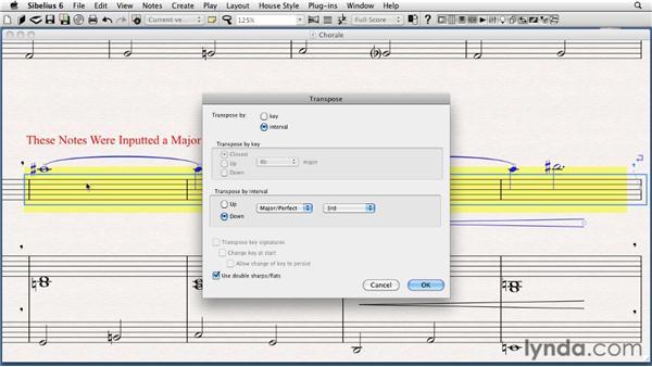 Transposing notes: Sibelius 6 Essential Training