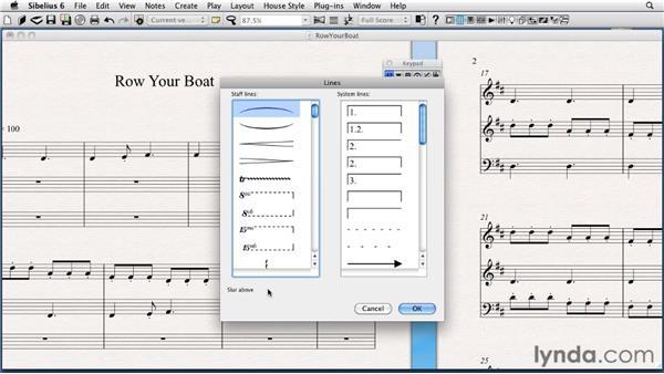 The Lines menu: Sibelius 6 Essential Training